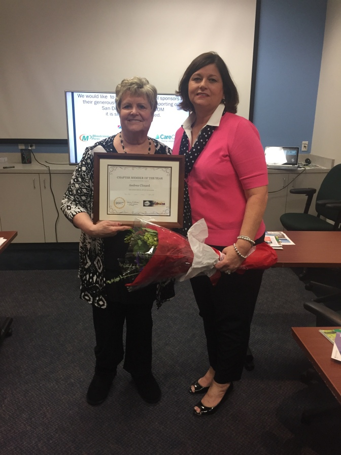 Congratulations to the 2017 SDDOM Chapter Member of the Year, Andrea Clinard! She's been representing practice management for 50 years! Thank you Andrea for your amazing commitment to our industry!